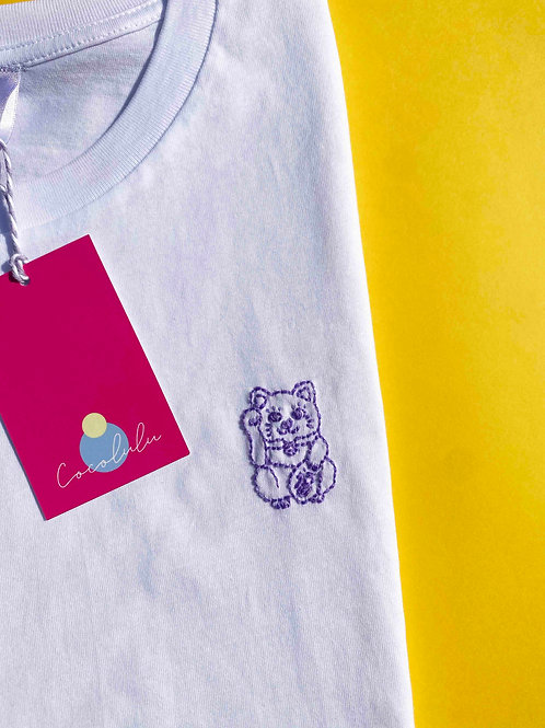 Lucky cat lilac & white organic cotton T-shirt