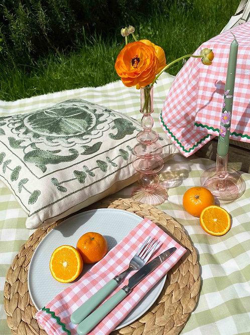 Peach gingham & green ric-rac napkin set of 2