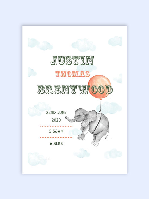 Baby elephant birth print