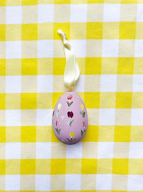 Hand painted rose ceramic egg