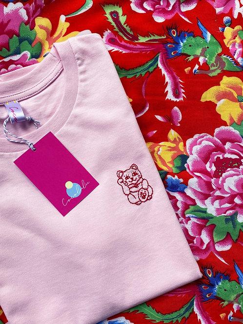 Lucky cat pink organic cotton T-shirt