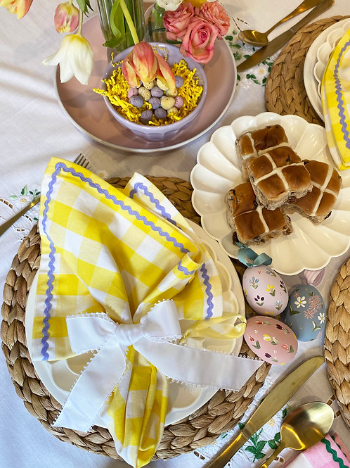 Yellow gingham & lilac ric-rac napkin set of 2