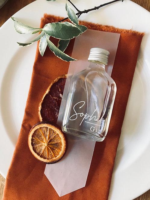 Valencian Orange personalised spirit bottle table place