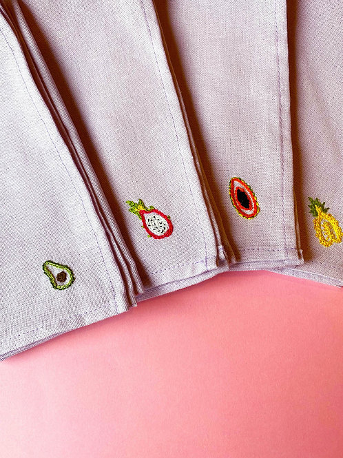 Hand embroidered exotic fruit napkins set of 4
