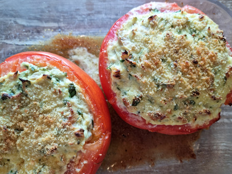 Tomates farcies ricotta, thon et câpres