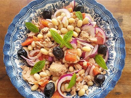 Salade de haricots coco, thon et oignon rouge - insalata di fagioli, tonno e cipolla