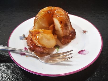 Pommes au four sur brioche au calvados : ma recette légère