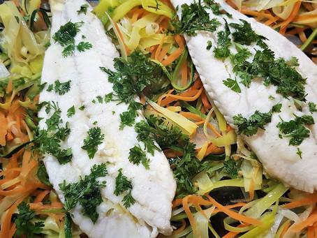 Filets de turbot et effilochée de légumes, un plat ultra diététique d'après fêtes