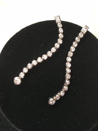 .925 Sterling Silver Bezel Set CZ Line Earrings