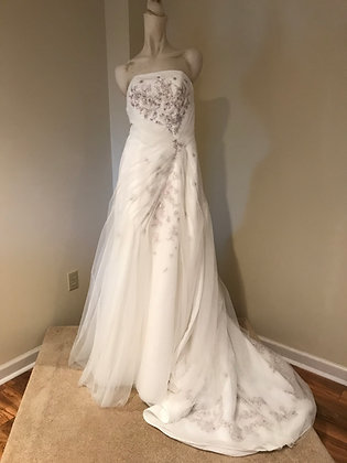 Monique Luo Ivory Strapless Crepe & Tulle Wedding Dress