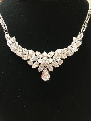 Designer .925 Sterling Silver CZ Necklace