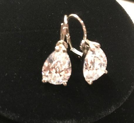 Large Silvertone CZ Pear Shaped Lever Back Earrings