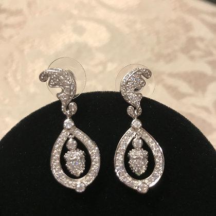 Leaf & Acorn Silvertone CZ Drop Earrings