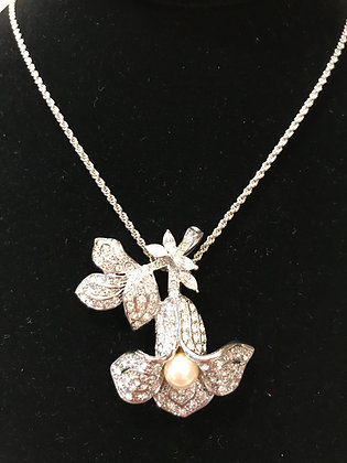 Camrose & Kross Jacqueline Kennedy Collection Silvertone Orchid Necklace