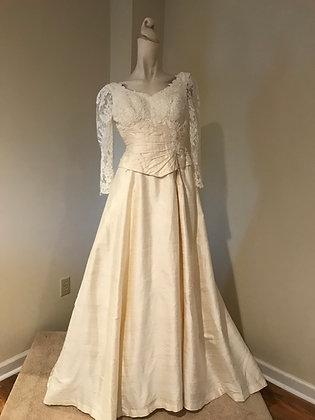 Ivory Dupioni Silk & Lace Long Sleeve Wedding Dress