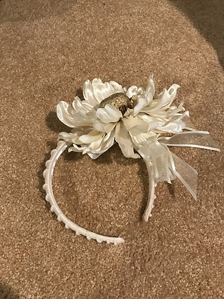 Ivory Satin Floral Headband with Faux Pearl Accents