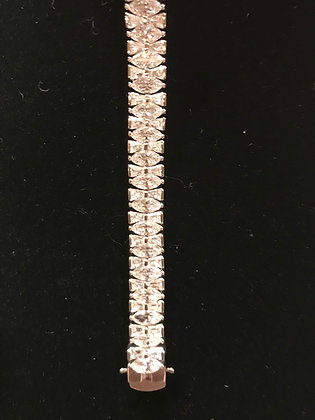 .925 Designer Sterling Silver CZ Tennis Style Bracelet