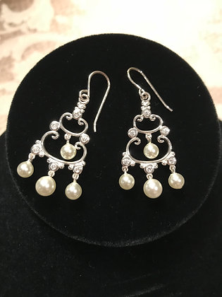 Sterling Silver CZ & Faux Pearl Chandelier Earrings