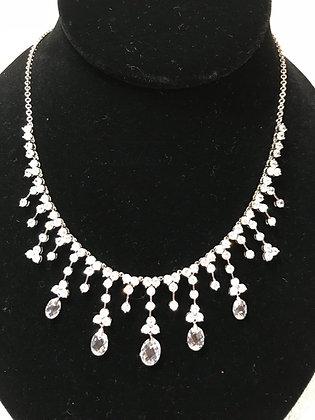 Designer .925 Sterling Silver CZ & Crystal Necklace