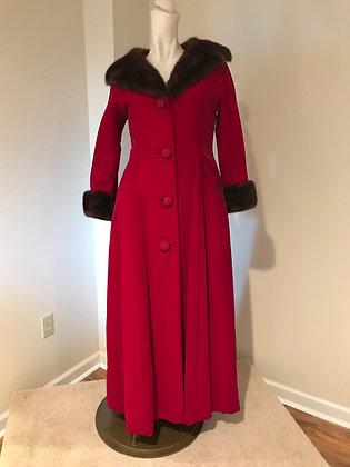 Vintage Martha Palm Beach, New York, Miami Beach Red Velvet Coat