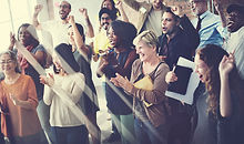 Diverse Group Cheering