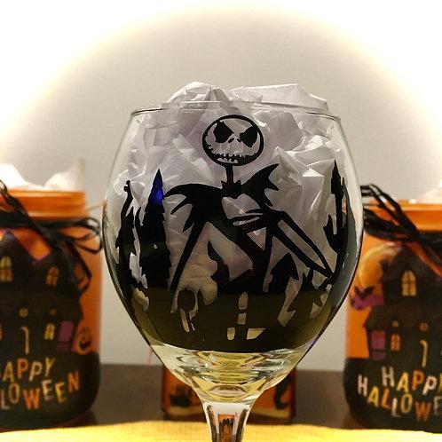 """""""Nightmare Before Wine"""" Wine glass"""