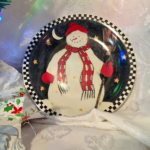 Snowman and Stars glass plate
