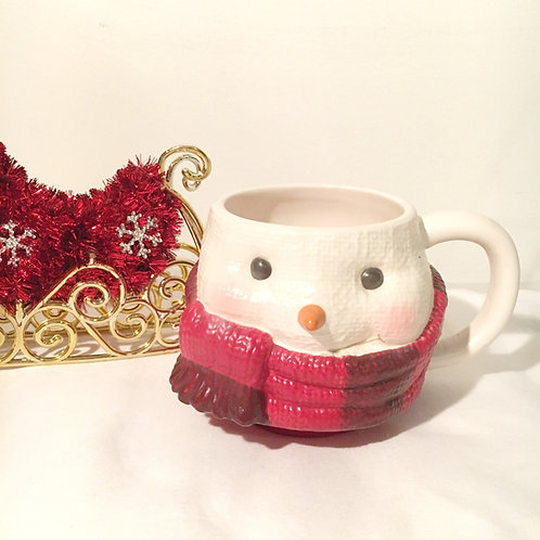 Red Scarf Snowman Candle