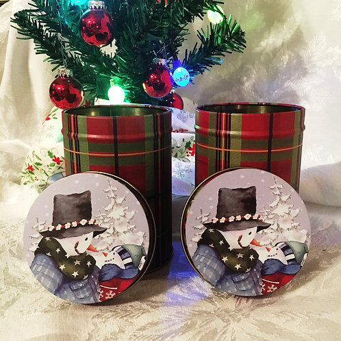Snowman Plaid Tin (short) - MTO