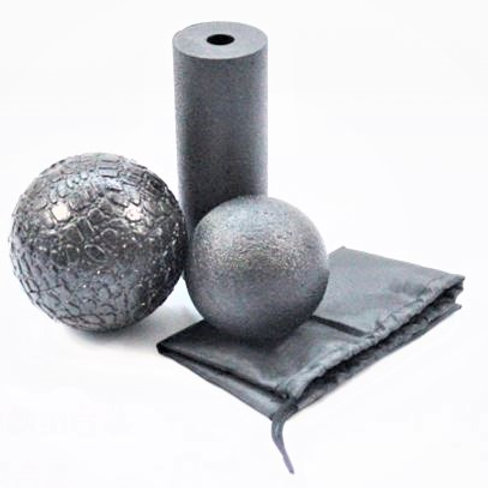 3Pc Massage / Mobility Recovery Set | Mini Foam Roller + Smooth and Grooved Ball