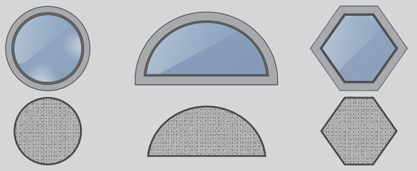 custom window screen shapes