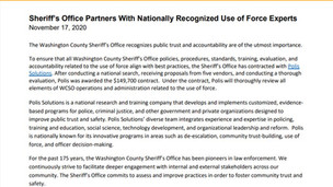 Polis Partners with Washington County (OR) Sheriff's Office for Comprehensive Use of Force Review