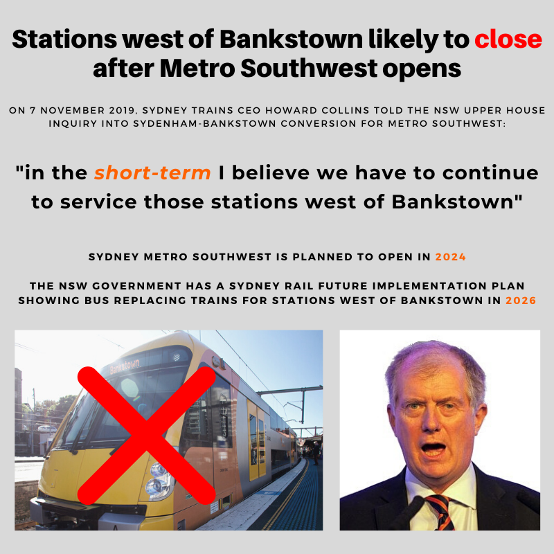 Stations west of Bankstown likely to clo