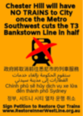 Chester Hill will have no trains to City