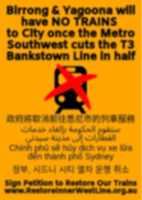 Birrong & Yagoona will have no trains to