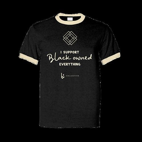 Black SUPPORT Ringer Unisex Fundraiser Tee   TBEC