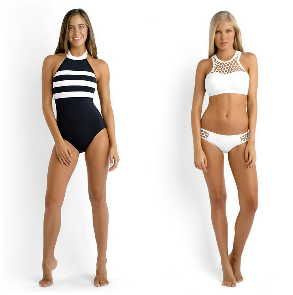 L:Block Party DD Cup One piece from Seafolly Australia R: Mesh About high neck bikini from Seafolly Australia