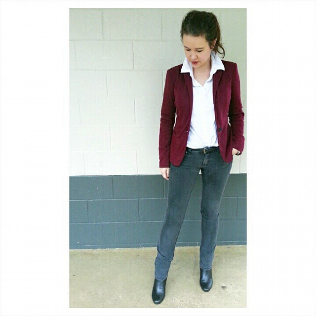 My LWS styled with a blazer and jeans.