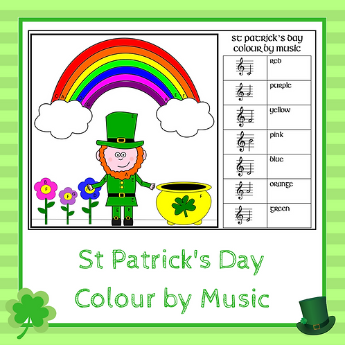 St Patrick's Day Music Colouring