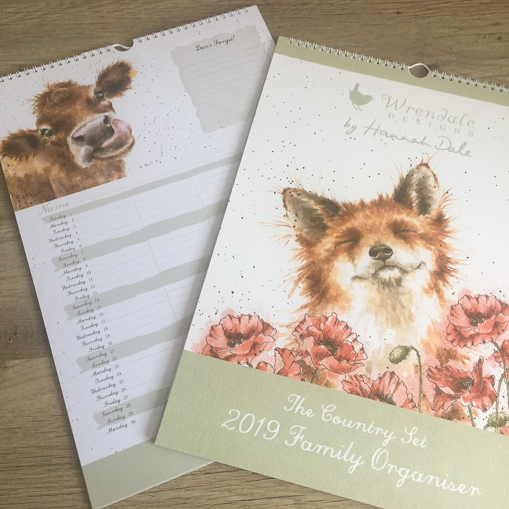 Wrendale Family Organiser with Fox in Poppies on cover