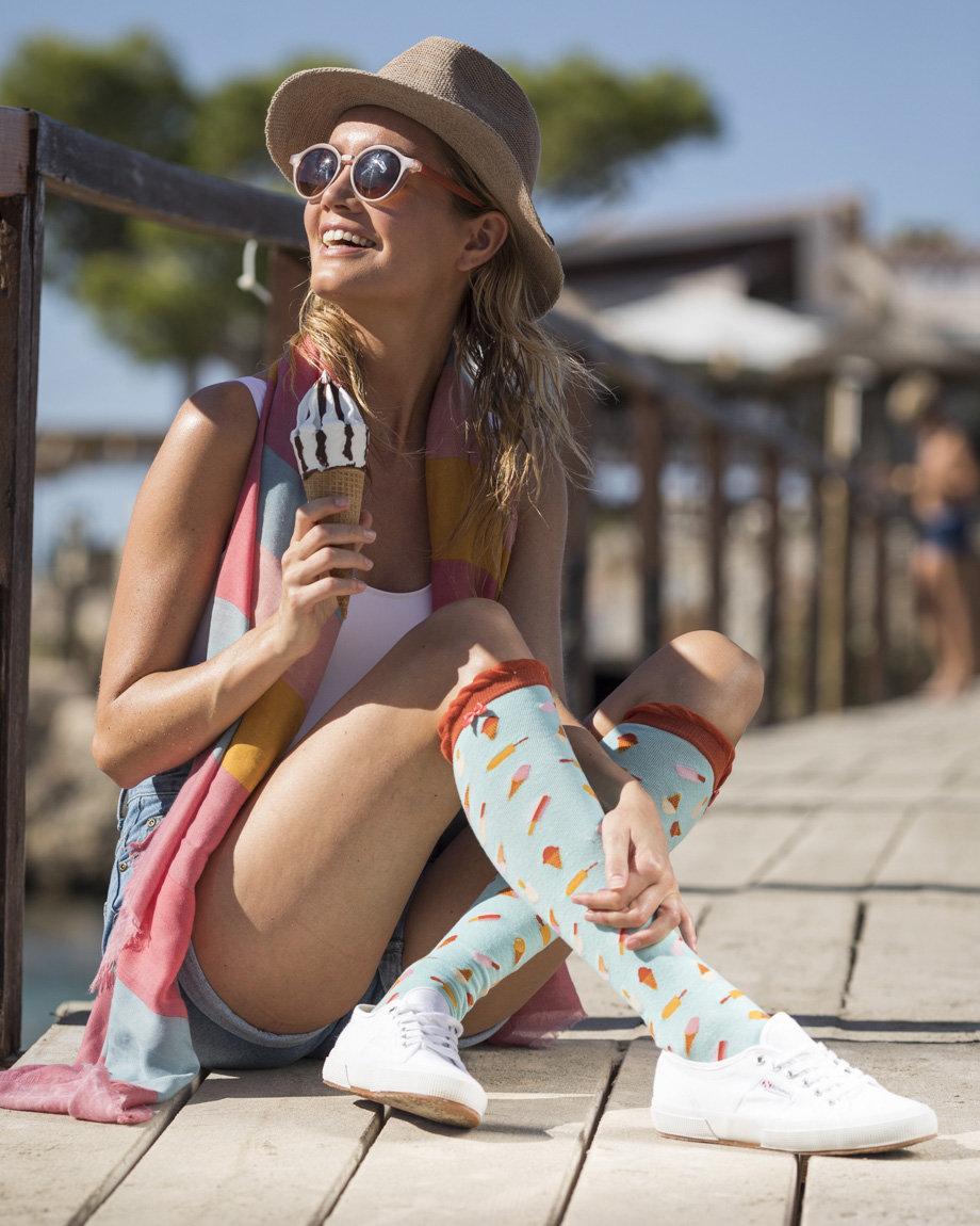 Powder Knee-high ice-cream socks