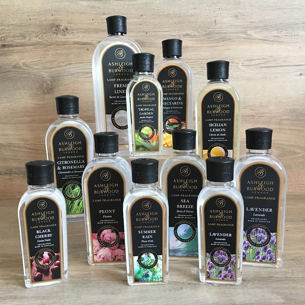 Bottles of Ashleigh and Burwood Fragrances including Sicilian Lemon, Lavender and Tropical Garden