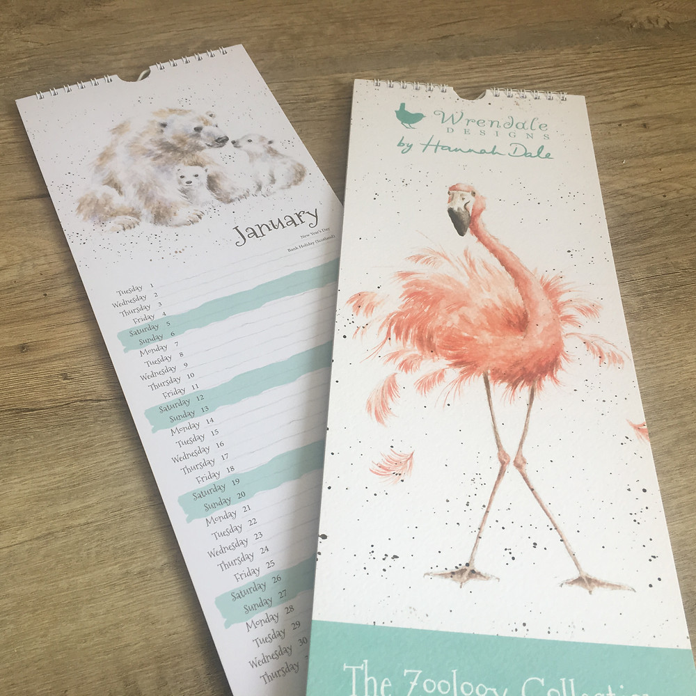 Slim Zoology Calendar with Flamingo cover