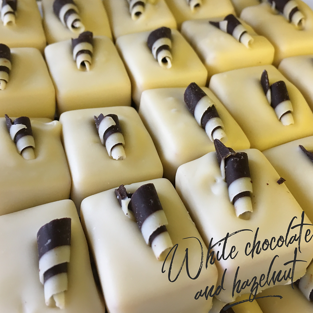 White chocolate and hazelnut belgian chocolates