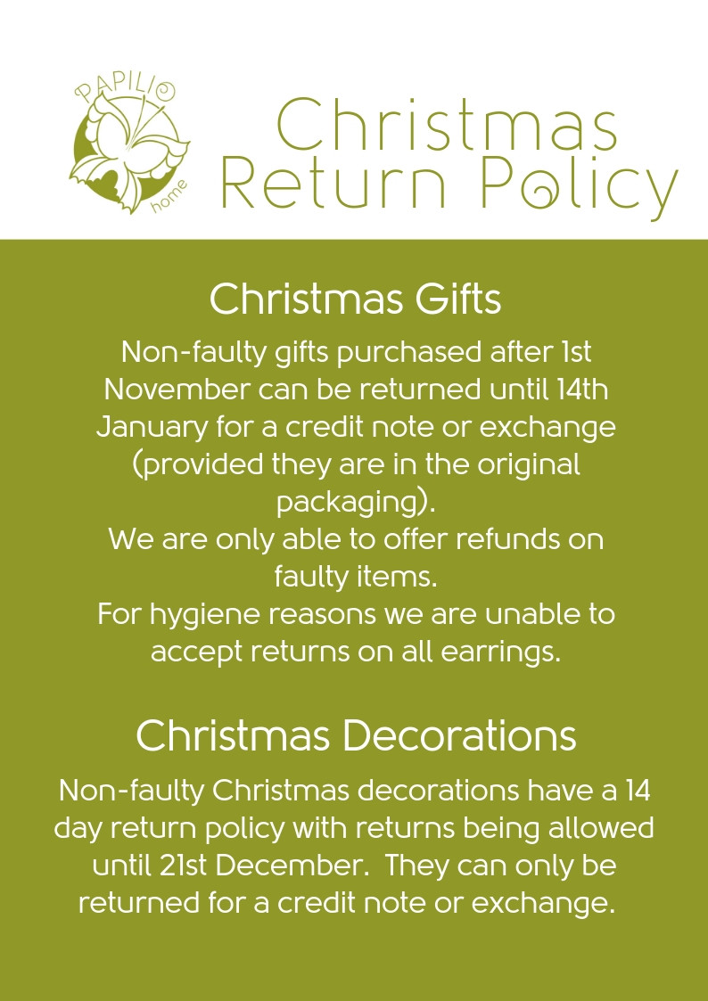 Christmas returns policy