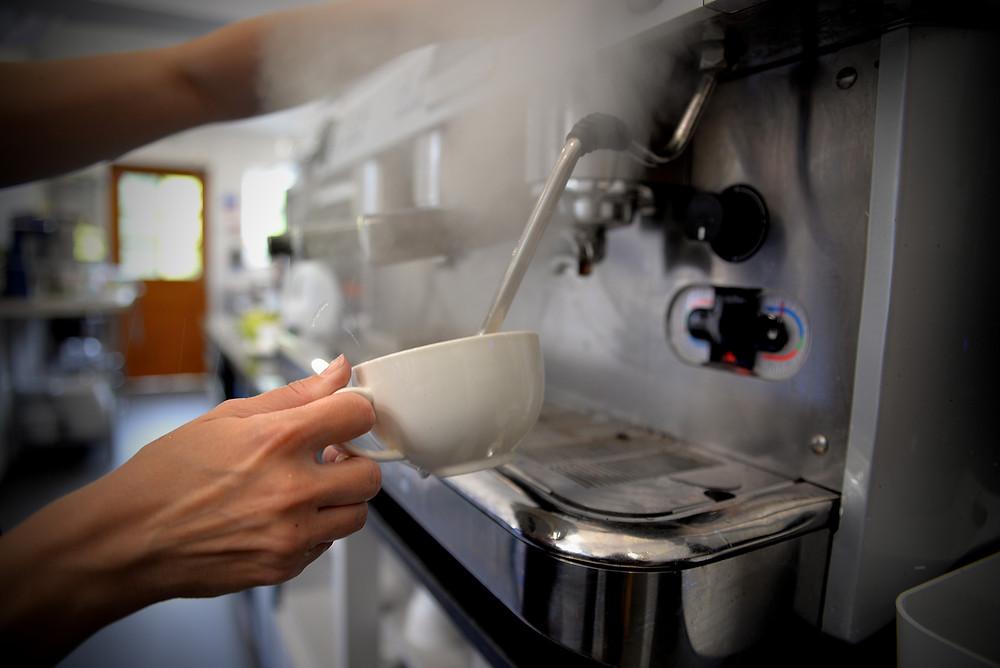 Making coffee on a professional machine