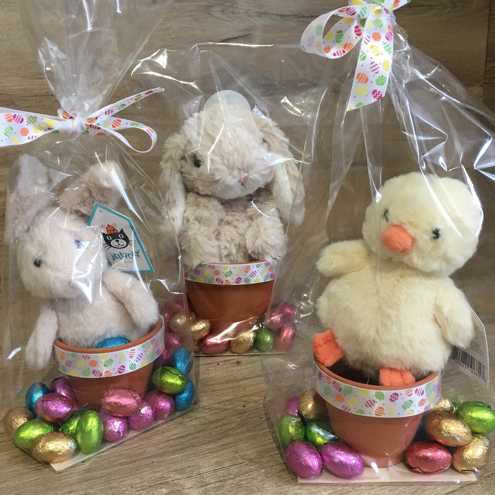 Jellycat Bunnies and Chick on Pots filled with chocolate eggs