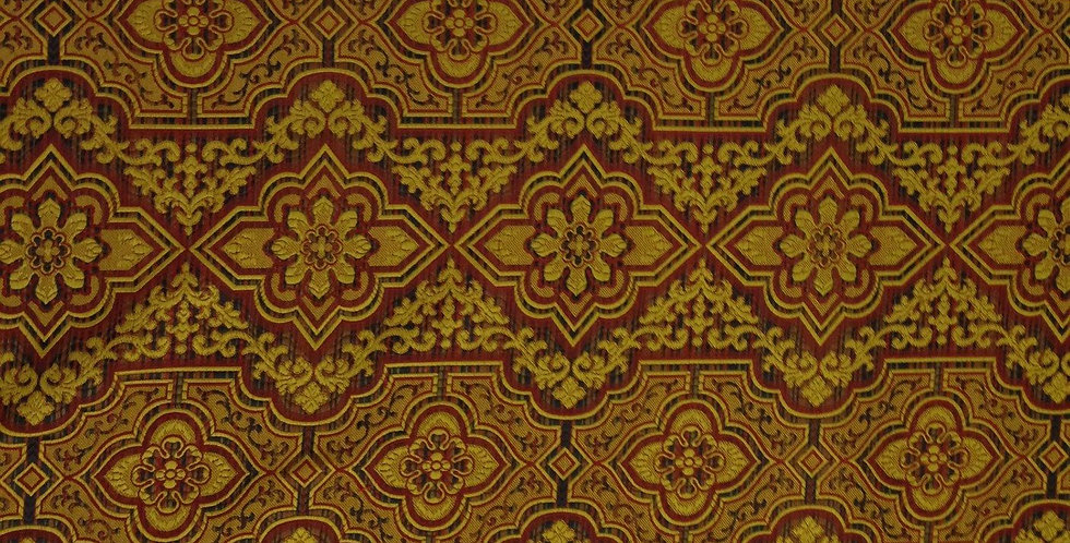 Red And Gold Medallion Silk
