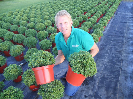 Owner Greg Eisele with fall mums