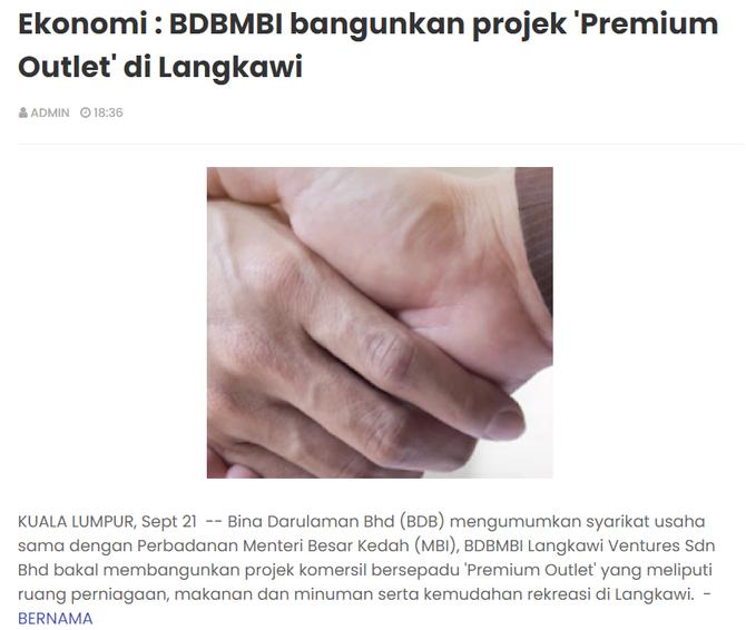 BDBMBI bangunkan projek 'Premium Outlet' di Langkawi   MALAYSIA SEJAHTERA   21/9/2021